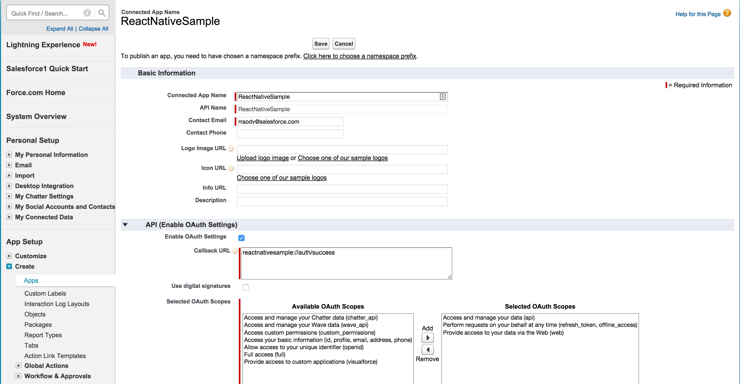 Salesforce Mobile SDK: React Native Tutorial